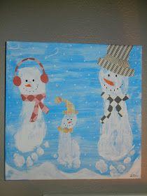 Family footprint snowmen