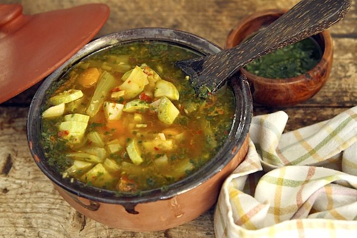 This famous soup from the county of Nice in the South of France is interpreted in a dizzying number of ways and is a traditional dish in the early Summer (or at least when basil is available). My f...