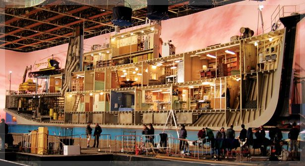 "The ""Life Aquatic"" set, a film taking place on a submarine - with Bill Murray aka Steve Zissou, directed by Wes Anderson."