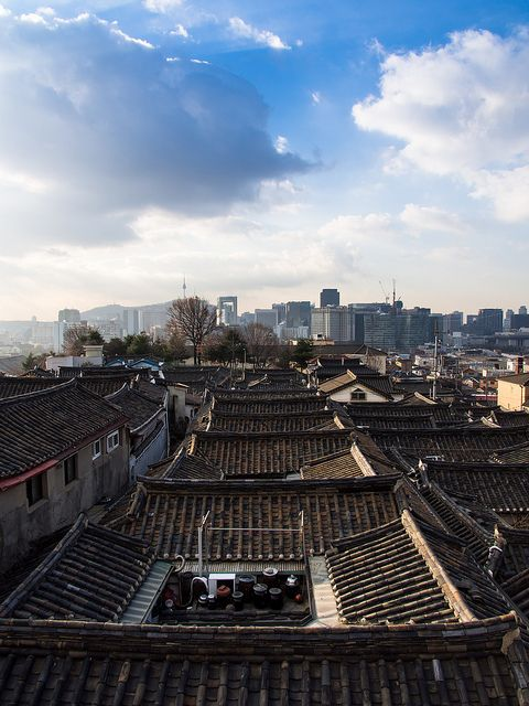 Bukchon Hanok Village- Seoul, South Korea - love seeing the fermentation crocks on the rooftop.