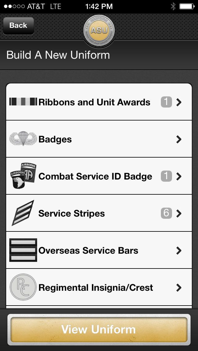 The only App that builds your entire Army Service Uniform (ASU) and  shows all the measurements!