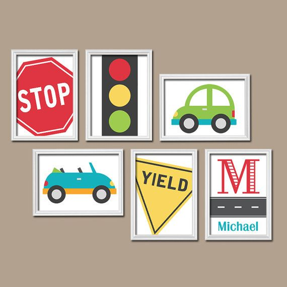 Transportation Cars Road Sign Custom Personalized BOY Name Monogram Initial Flower Set of 6 Prints WALL ART Gallery Child Baby Nursery Decor on Etsy, $45.00