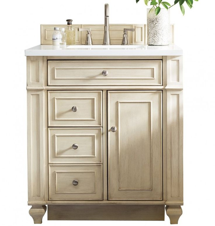 30 inch vanity cabinet with top lowes offset antique single sink bathroom vintage vanilla finish white quartz