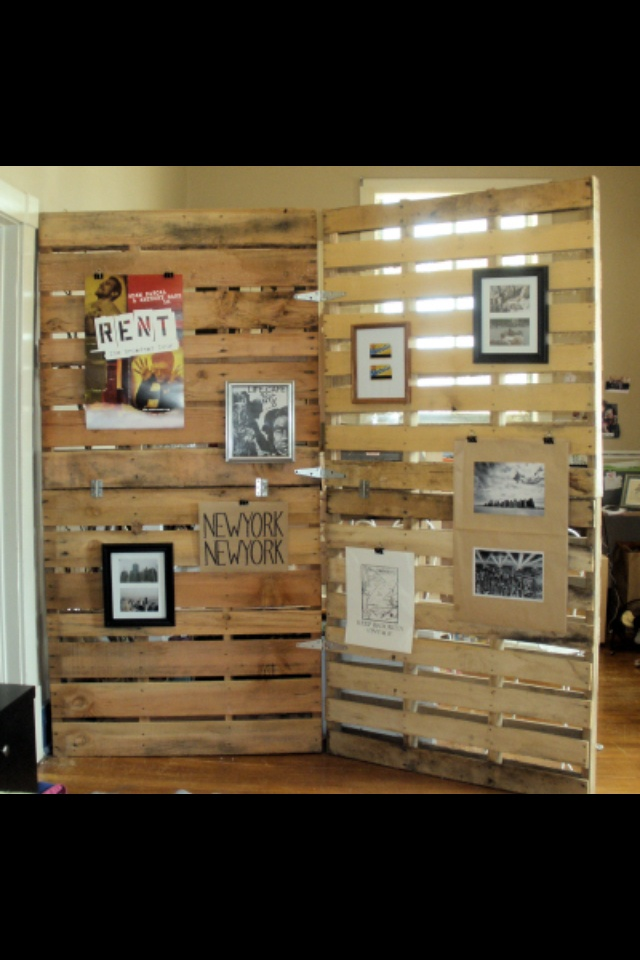 Room divider from recycled palettes.
