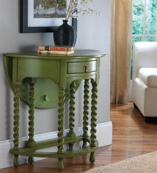"""Enchanted Rose Studio: Some Beautiful Painted Furniture.  I often don't like these little """"half-moon"""" tables - but the funky green kind of makes this one appeal to me.  The drop leaf is also a nice touch."""