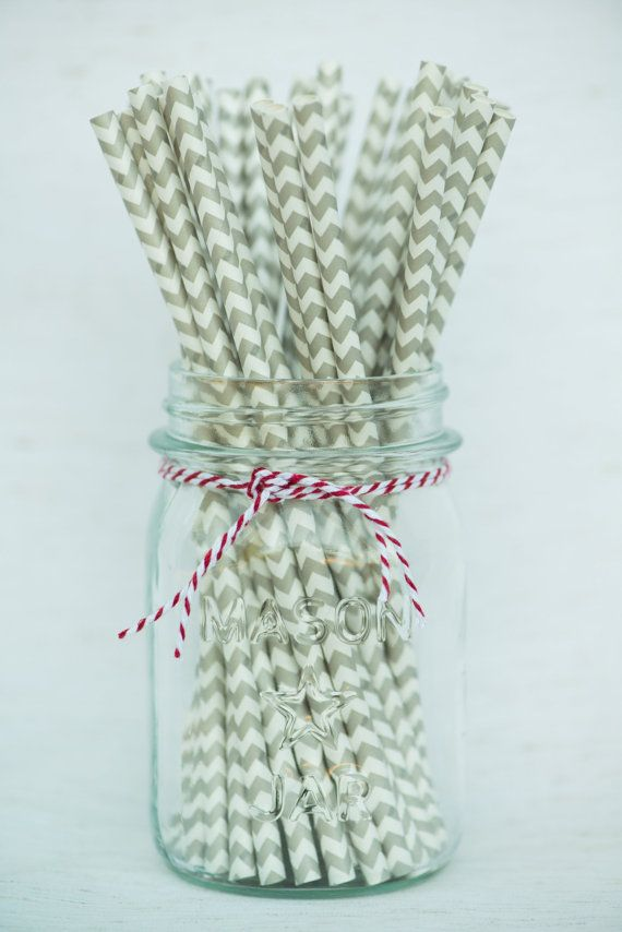 Grey Chevron Paper Straws by HooplaEvents on Etsy, $4.25