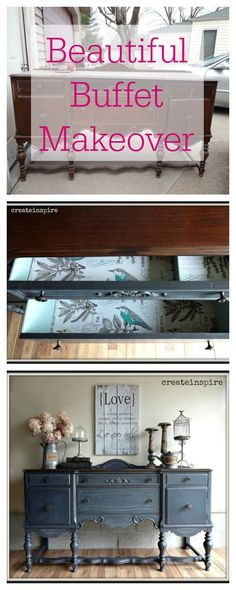 DIY - This buffet was brought home from a barn and given a beautiful makeover.