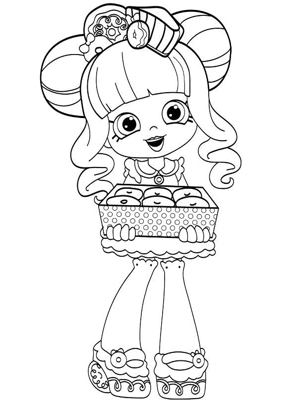 Coloring Page Shopkins Dolls Donatina Crafts Cool Coloring Pages