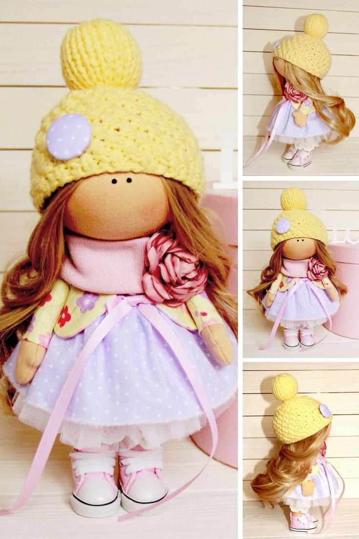 Textile doll Baby doll Winter doll Handmade doll Yellow doll Soft doll Art doll Fabric doll Nursery doll Cloth doll Rag doll by Tanya A
