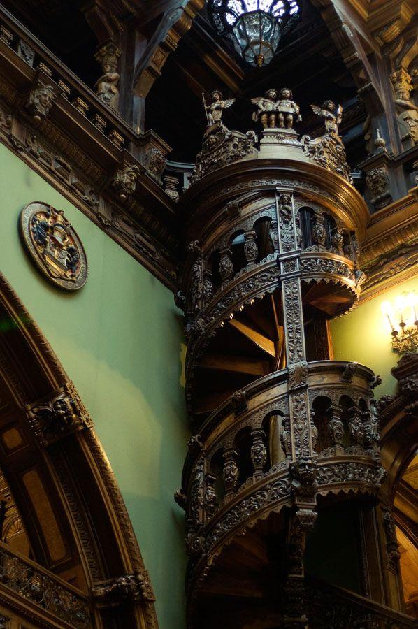 Carved staircase, Peles Castle, Sinaia, Romania