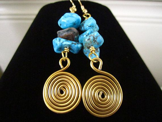 Handcrafted Bohemian Jewelry Dangly Turquoise by Tishibu on Etsy