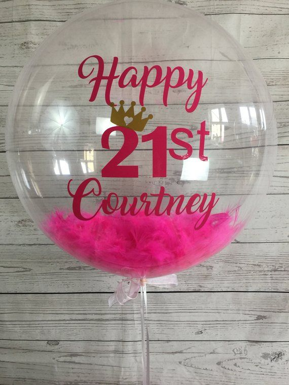Personalised 21st Birthday Balloon Bespoke Inflated In A Box Delivery Custom Helium Feather