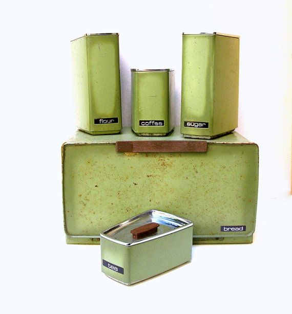 Vintage Canisters, Set of 5, incl. Breadbox.  Rusty Green, 1960s Avocado. Enameled Metal, Lincoln Beautyware.  Decor, Display, Stylist Prop