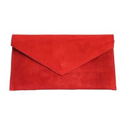 Lucia Italian Red Leather Envelope Clutch Bag - £24.99