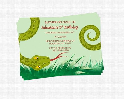 Reptile invitation, snake birthday invitation, reptile birthday.