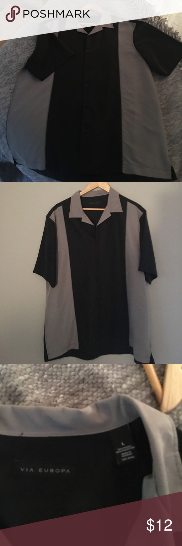 """Men's large short sleeve shirt I call this the """"Charlie Sheen"""" shirt!  It's grey and black and buttons down the front.  Nice men's shirt and goes with anything. Via Europa Shirts Casual Button Down Shirts"""