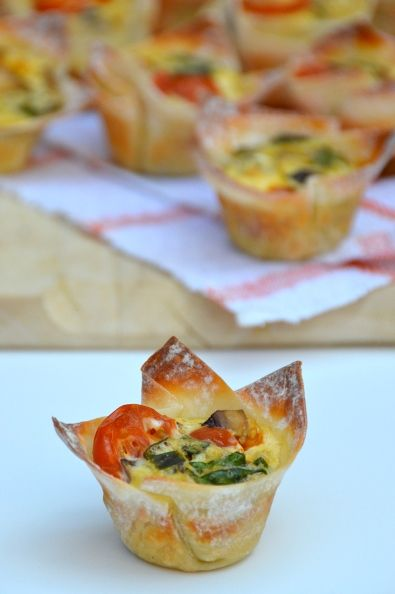 Won Ton Cup Mini Omelets | Nasoya. A delicious twist for a brunch buffet!