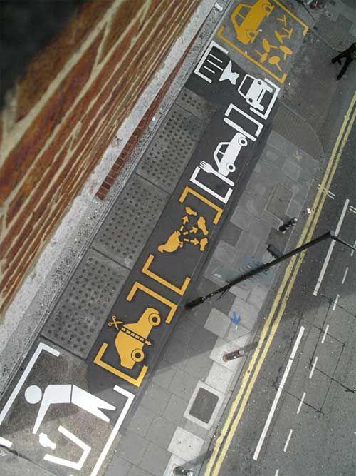 big floor graphics on the car park