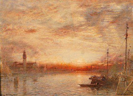 Venise, l île cimetière de Albert Goodwin (1845-1932, United Kingdom)