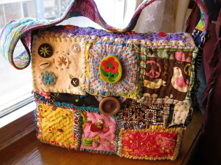 First completed Teesha Moore style patch bag, stolen immediately by my daughter…