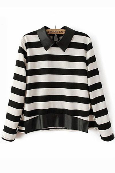 Leather Contrast Stripe Blouse with Split Hem [FDBI00632] - PersunMall.com