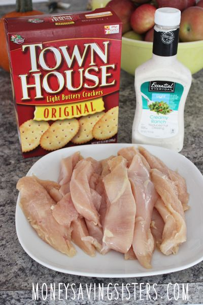 Super easy recipe! Ritz or Townhouse Crackers, Ranch Dressing & Chicken Strips!