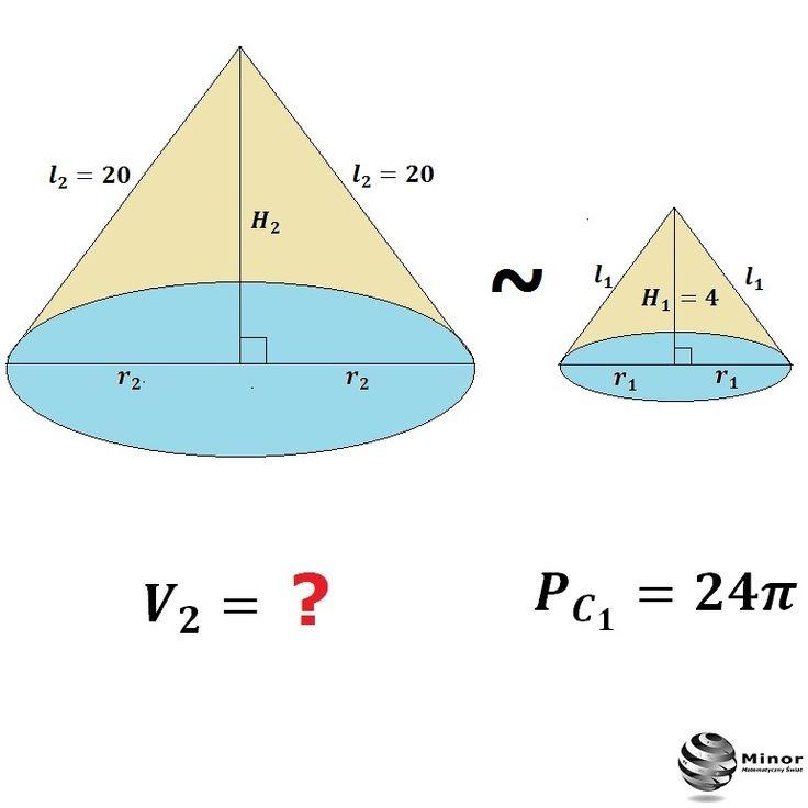 Cones are similar. Calculate the volume of a cone.  Stożek o wysokości  4 i polu powierzchni 24∏  jest podobny do stożka o tworzącej 20. Oblicz objętość stożka.