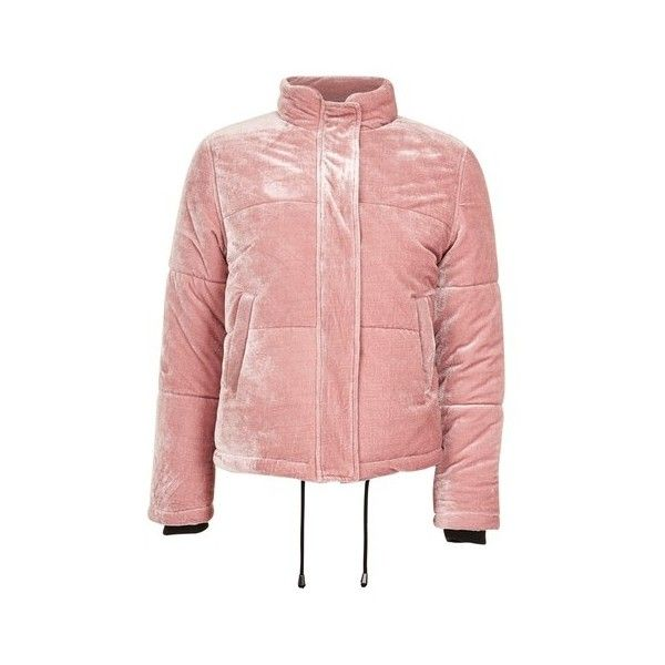 Topshop Velvet Puffer Jacket (€85) ❤ liked on Polyvore featuring outerwear, jackets, pink, red puffy jacket, puffy jacket, puffer jacket, red zip up jacket and pink jacket
