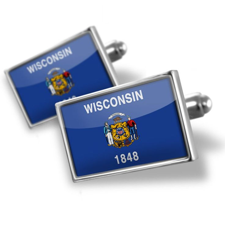 Cufflinks Wisconsin, Flag region: America (USA) - Neonblond. Cufflinks for men, High Quality Rhodium Plating. Standard Size is approximately 19mm x 12mm. We have more then 10,000 different Cuff Links. Money-back Satisfaction Guarantee. Products are Assembled in America.