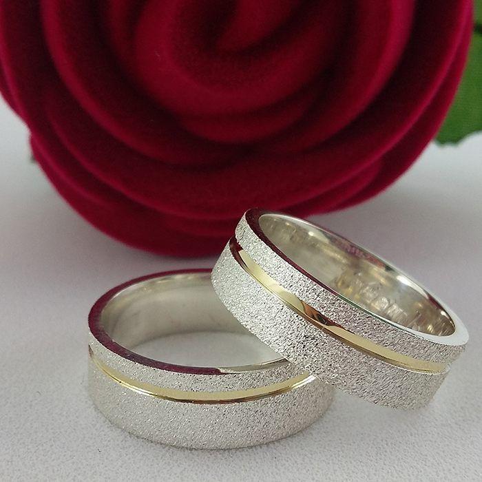Alianças Namoro Ouro e Prata Diamantadas 6mm 12g VJ2275