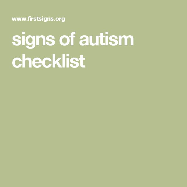 signs of autism checklist