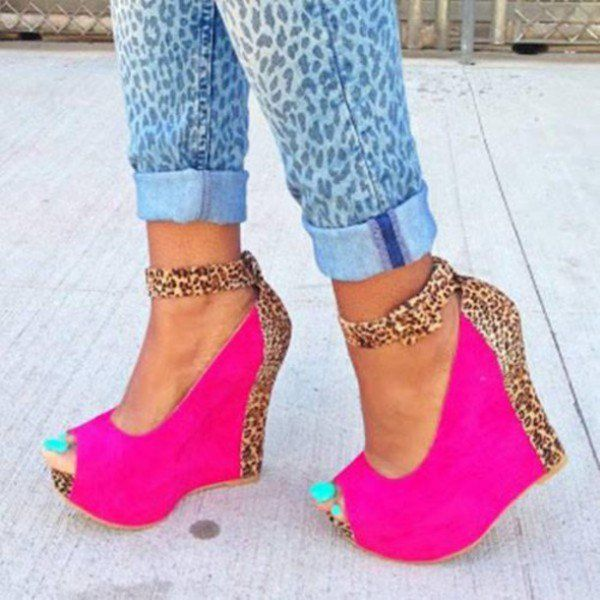 Hot Pink Leopard Print Wedge Heels