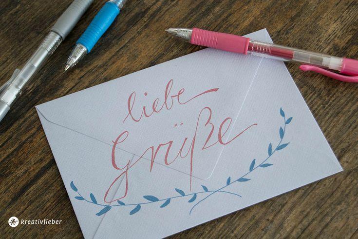 Grüße an die freundin post, Postkarten, Briefe schreiben, Handlettering