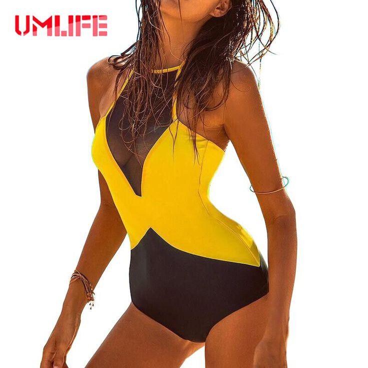 2016 New Retro One Piece Swimsuit Sexy Net Yarn Women Swimwear Monokini One Piece Bathing Suit Bodysuit Women's Swimming Suit