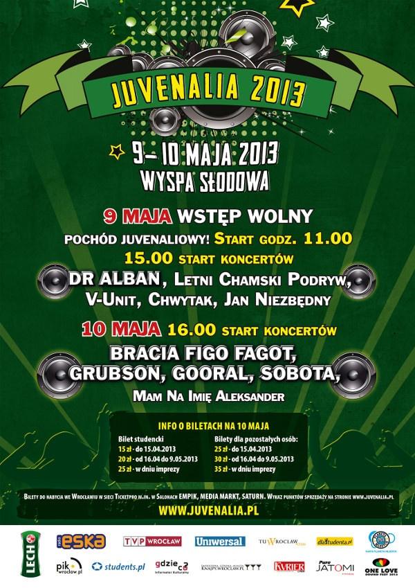 Juwenalia 2013 - Grubson, Bracia Figo Fagot, Gooral, Sobota - Pod patronatem  Gdzieco.pl