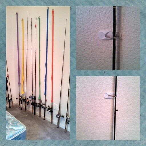 Finding your fishing rods is easy when you hang them up with Command(TM) Hooks! Perfect solution for organizing your garage or shed