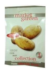 £1.00 - Market Garden Collection Vegetables  POTATO PACK PENTALND JAVELIN - FIRST EARLY  8 ROOTS  -Grow - Cook - Enjoy  A soft waxy texture, suitable for salads and roasting  HARVEST: June to August  Before planting outside, ensure any danger of frost has passed.  Growth within pack is not harmful to plant health.