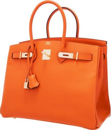 Hermes 35cm Orange H Epsom Leather Birkin Bag with Gold Hardware