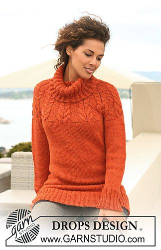 "Ravelry: 122-8 Knitted jumper with raglan sleeves and cables in ""Nepal"" pattern by DROPS design sweater - FREE PATTERN"