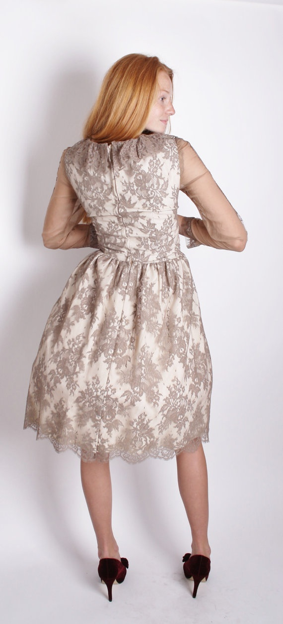 1950s Cocktail Dress / Cocktail Dress / Illusion Lace by aiseirigh, $188.00