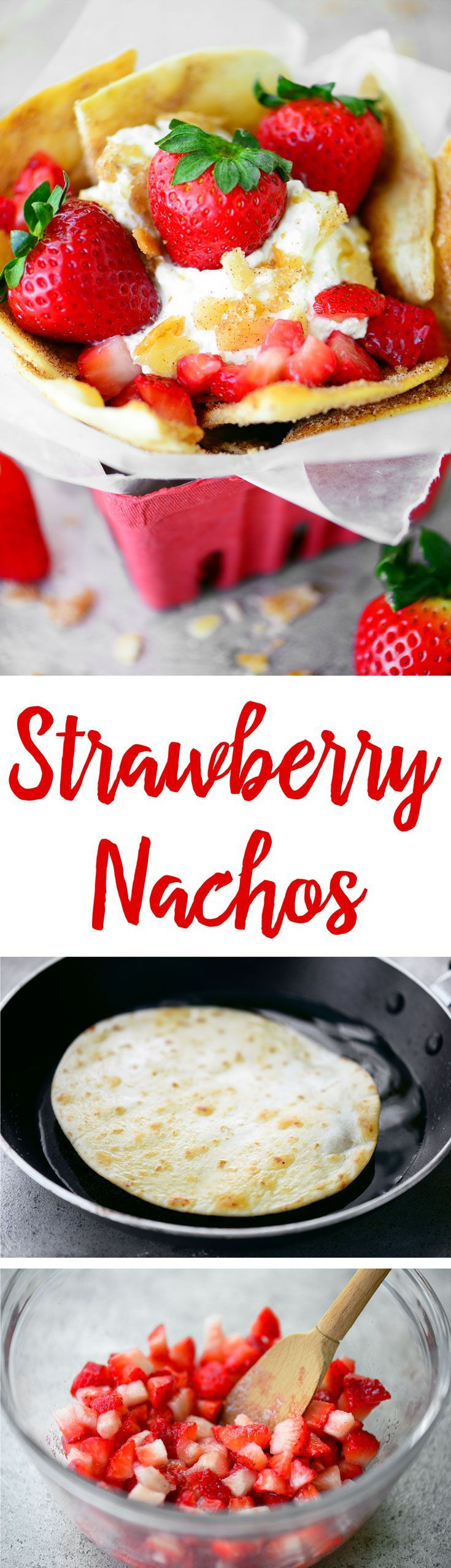 This easy Strawberry Nachos recipe with crispy cinnamon sugar tortilla chips, whipped cream, and juicy strawberries is the most delicious summer dessert!