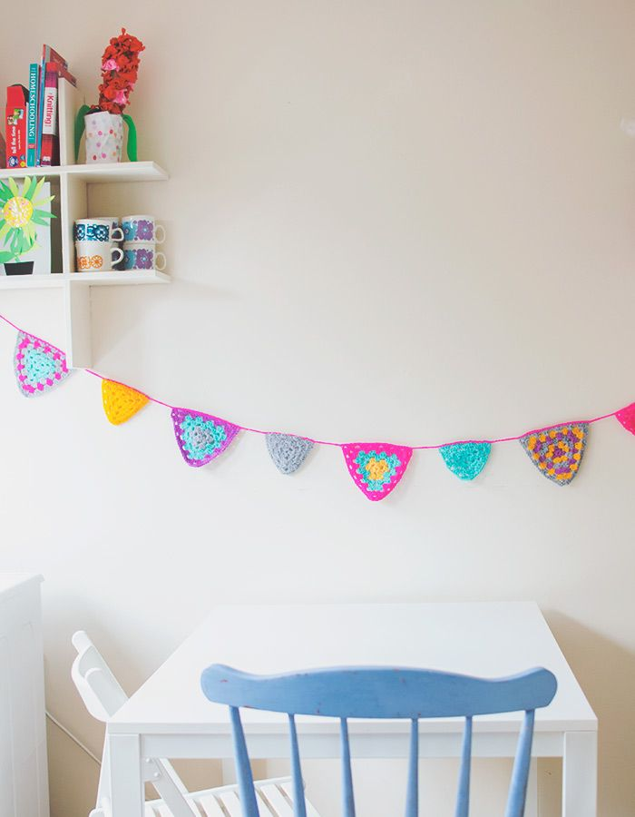 Bright And Colorful Crochet Bunting made from granny triangles.