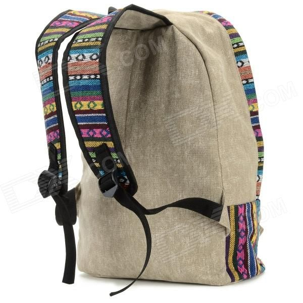 Chinese Ethnic Style Canvas Backpack - Brown + Multicolored