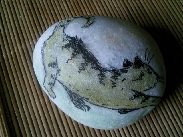 gatto, acquerello su pietra