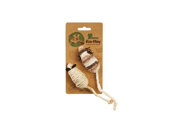 La Tienda de los Gatos: Ratones Eco  2 Ratones elaborados con materiales textiles diferentes y fibras naturales, con relleno tipo sonaja, en tamaño ideal. Características: Para interactuar, diseñado para satisfacer las necesidades de juego del gato, ya que estimula su instinto de persecución. Materiales amigables con la naturaleza.