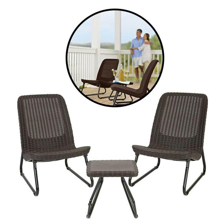 3 Piece Bistro Set Durable Modern Patio Garden Brown Furniture Table Chairs #DurableModernPatioSet