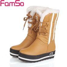 Além Disso Size34-43 2017 New Shoes Mulheres Botas Plataformas Sapatos À Prova D' Água preta 4 Cores Inverno Cheio Botas de Neve da Pele das Mulheres SBT1672 alishoppbrasil