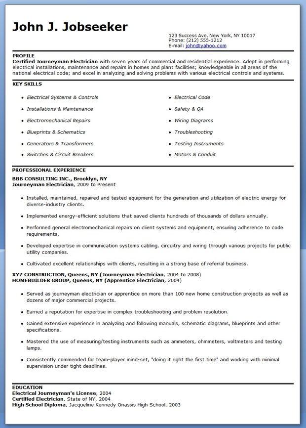 free journeyman electrician resume templates