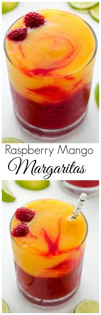 Fruity and fabulous, these Raspberry Mango Margaritas are swirled together to create the ULTIMATE Summertime drink! Treat yourself to a batch today.