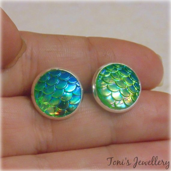 Green Mermaid Scale Earrings  Silver plated Two toned  12mm